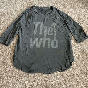 The Who 3/4 sleeve gray shirt.